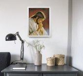 """Immagine di 'Quadro """"Cristo orante"""" di Parisi con lamina oro e cornice minimal - dimensioni 44x34 cm'"""