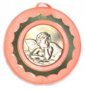 Sopraculla rosa in argento con Angelo - cm 9