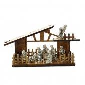 Presepe in legno con personaggi in metallo argentato - dimensioni 8x13 cm
