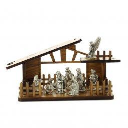 Copertina di 'Presepe in legno con personaggi in metallo argentato - dimensioni 8x13 cm'