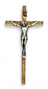 Copertina di 'Croce in metallo dorato con Cristo argentato - 8,5 cm'