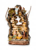 Presepe in terracotta decorata a mano con fondo di mattoni - dimensioni 13x7 cm