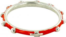 Copertina di 'Fedina rosario argento smaltata rossa mm 18'