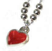 Immagine di 'Collana con ciondolo a forma di cuore con smalto rosso cm 0,8 in argento 925'
