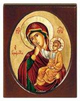 """Icona in legno """"Madonna della carezza"""" - 11,5 x 14,5 cm"""