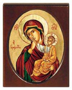 """Copertina di 'Icona in legno """"Madonna della carezza"""" - 11,5 x 14,5 cm'"""