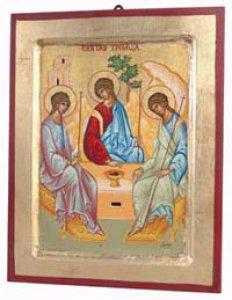 """Copertina di 'Icona in legno e foglia oro """"Trinità di Rublev"""" - dimensioni 30x23 cm'"""