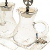 Immagine di 'Servizio ampolline con piatto in cristallo e inserti d'argento - capienza 90 cc'