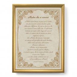 """Copertina di 'Quadro con preghiera """"Madre che ci conosci"""" su cornice dorata - dimensioni 44x34 cm'"""