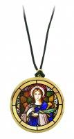 Ciondolo Santa Lucia in legno ulivo con immagine serigrafata - 3,5 cm