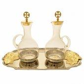 Servizio ampolline su piatto argentato con decorazioni dorate cm 27x15
