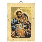 """Icona a sbalzo con cornice dorata """"Sacra Famiglia"""" - 14 cm"""