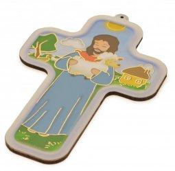 """Copertina di 'Croce in legno """"La pecorella smarrita"""" per bambini - altezza 13 cm'"""