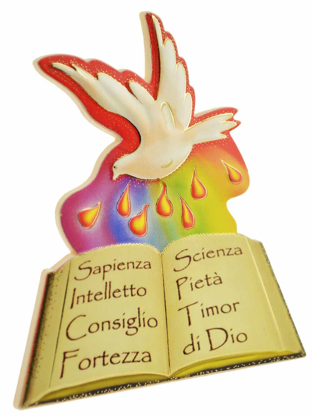 Eccezionale Calamita Santa Cresima con colomba e libro, in polimero, Italia  TT72