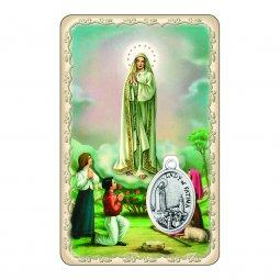 """Copertina di 'Card """"Madonna di Fatima"""" con preghiera e medaglia - (10 pezzi)'"""