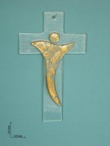 Copertina di 'Croce in vetro con Crocifisso stilizzato oro - dimensioni 21x13 cm'