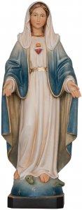 """Copertina di 'Statua in legno dipinta a mano """"Sacro Cuore di Maria"""" - altezza 23 cm'"""
