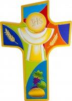 """Croce intagliata in polimero con simboli """"Prima Comunione"""" - dimensioni 14x10 cm"""