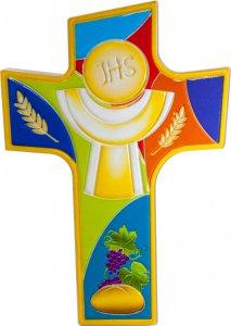 """Copertina di 'Croce intagliata in polimero con simboli """"Prima Comunione"""" - altezza 14 cm'"""