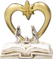 Natività su libro con cuore dorato - altezza 5 cm