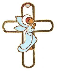 Copertina di 'Crocifisso da parete con angelo pregante per bomboniera battesimo - 13 cm'