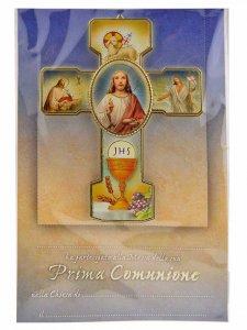 """Copertina di 'Croce """"Comunione"""" con attestato ed ovale in rilievo - dimensioni 15x11 cm'"""
