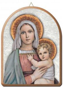 Copertina di 'Tavola Madonna col Bambino stampa su legno ad arco - 15 x 20 cm'