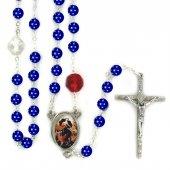 Rosario Maria che scioglie i nodi con grani in vetro blu