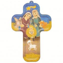 """Copertina di 'Croce in legno """"Il presepe"""" - altezza 13 cm'"""