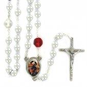 Rosario imitazione perla vetro Maria che scioglie i nodi - Bianco