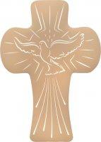 """Croce bombata in polimero con intaglio """"Colomba dello Spirito Santo"""" - altezza 14 cm"""