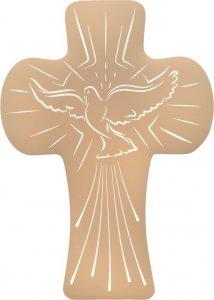 """Copertina di 'Croce bombata in polimero con intaglio """"Colomba dello Spirito Santo"""" - altezza 14 cm'"""