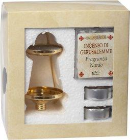Copertina di 'Confezione brucia incenso alla fragranza di nardo con candele'