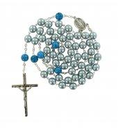 Rosario imitazione perla vetro azzurro Pater p. dura