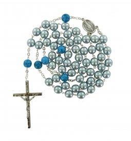 Copertina di 'Rosario imitazione perla vetro azzurro Pater p. dura'