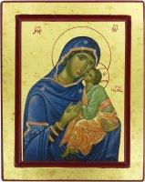 Icona Madonna della Tenerezza, produzione greca su legno - 25 x 20 cm
