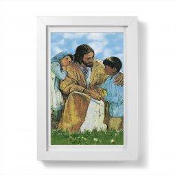 """Copertina di 'Quadretto """"Gesù e i bambini"""" con passe-partout e cornice minimal - dimensioni 15x10 cm'"""
