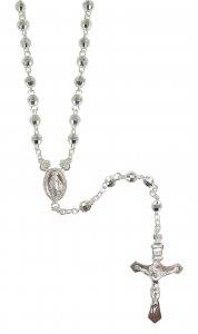 Copertina di 'Rosario in argento con grani sfaccettati mm 4'