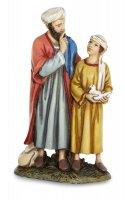 Uomo e bambino con colomba per presepe - cm 12