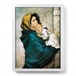 """Copertina di 'Quadro """"Madonnina"""" del Ferruzzi con lamina oro e cornice minimal - dimensioni 44x34 cm'"""