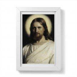 """Copertina di 'Quadretto """"Volto di Cristo"""" con passe-partout e cornice minimal - dimensioni 15x10 cm'"""