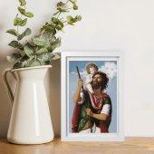 """Immagine di 'Quadretto """"San Cristoforo"""" con passe-partout e cornice minimal - dimensioni 15x10 cm'"""