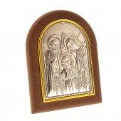"""Iconcina in legno e in lamina d'argento """"Sacra Famiglia"""" - dimensioni 7,5x6 cm"""