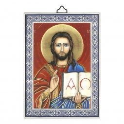 """Copertina di 'Icona con cornice azzurra """"Cristo Pantocratore"""" - dimensioni 14x10 cm'"""