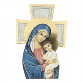 """Croce sagomata con lamina oro """"Madre del Salvatore"""" - altezza 14 cm"""