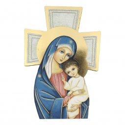 """Copertina di 'Croce sagomata con lamina oro """"Madre del Salvatore"""" - altezza 14 cm'"""