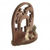 Immagine di 'Presepe in legno con Sacra Famiglia in metallo - altezza 6 cm'
