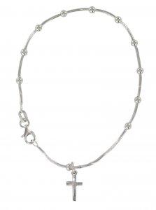 Copertina di 'Braccialetto in argento 925 rodiato con 11 grani tondi e crocetta'