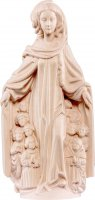Statua della Madonna della Misericordia in legno di tiglio naturale, linea da 70 cm, Madonne Gotiche - Demetz Deur