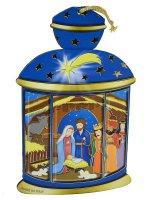 Lanterna blu da appendere con Sacra Famiglia e Re Magi
